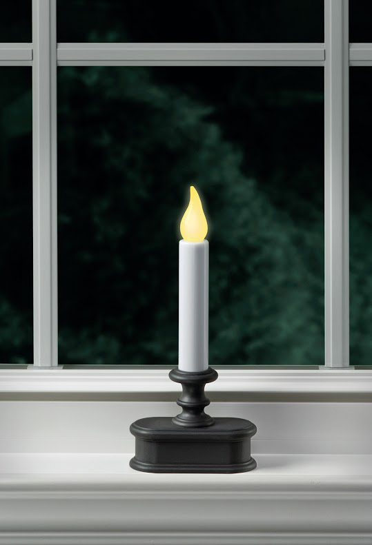 Battery Powered Window Candle Aged Bronze Flicker Mode Only