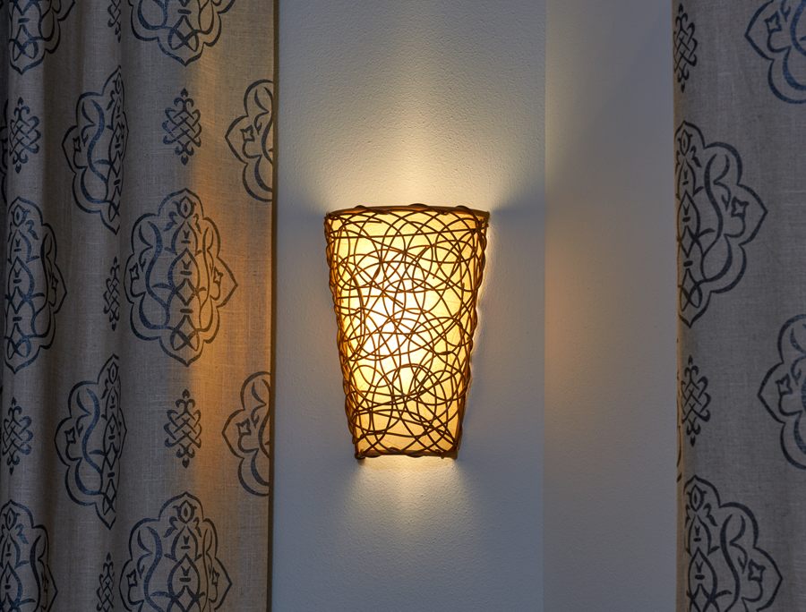 Battery Powered Wicker Wall Sconce with White Light or ... on Battery Powered Wall Sconces id=95365