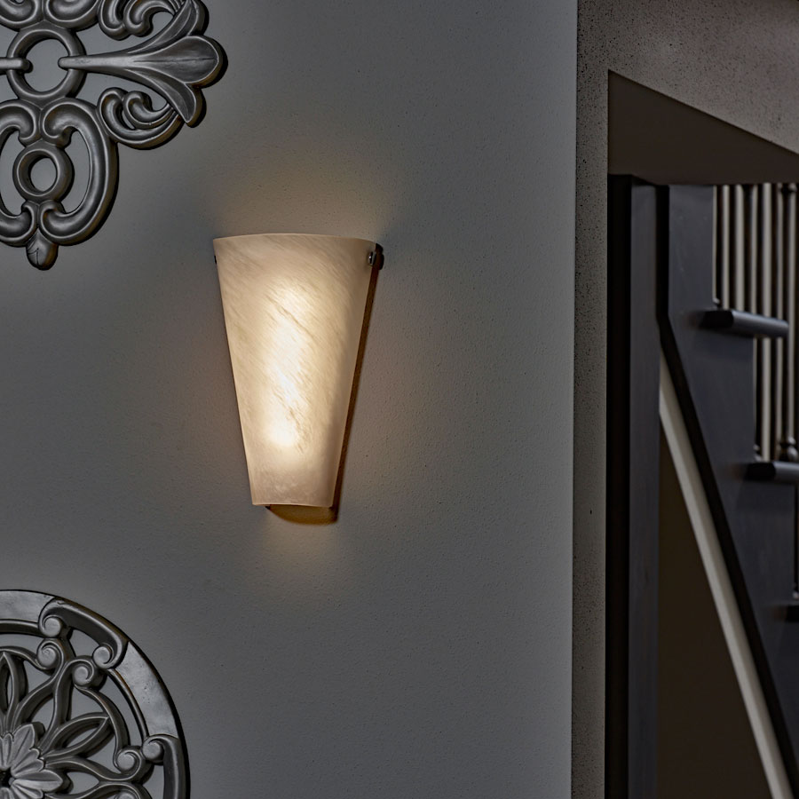 Battery Powered Wall Sconce Frosted Marble Conical Shade ... on Battery Powered Wall Sconces id=46877