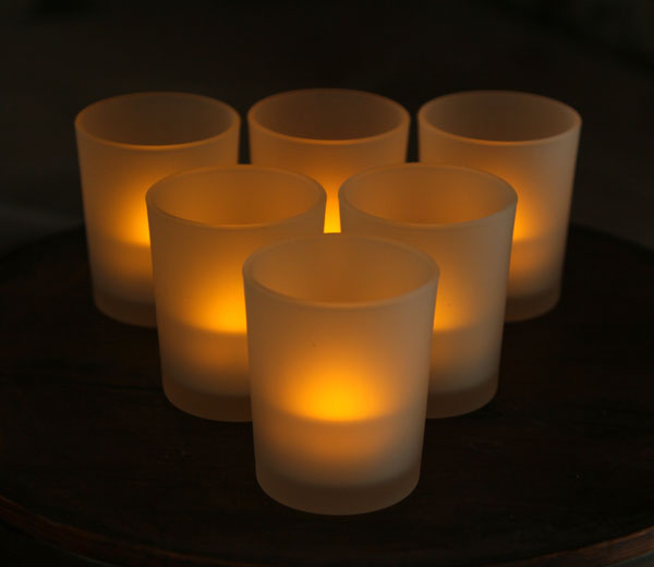 3 Inch White Frosted Battery Operated Tea Light Votive