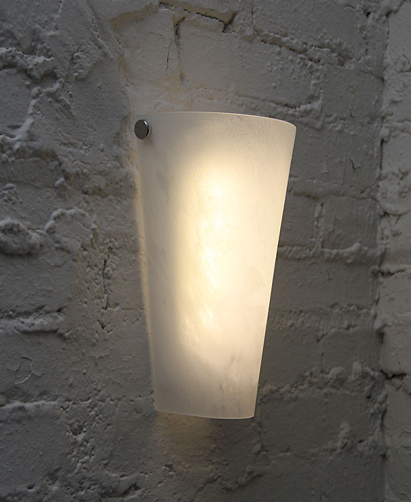 Battery Powered Wall Sconce Frosted Marble Conical Shade ... on Battery Powered Wall Sconces id=89051