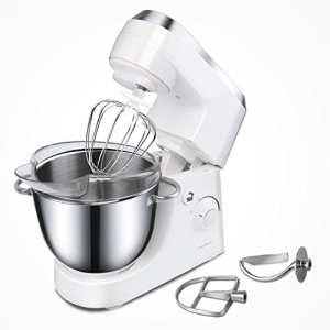 Aigostar Piccolo Mamma White 30HMA – Robot de cuisine: blender, pétrisseur, batteur, bol en acier inoxydable de 4,2 litres. Comprend 3 accessoires pour pétrir, battre et mélanger.