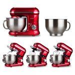 Cookmii Robot Pâtissier, Robot Petrin Pratique, Robot Cuisine Multifonctions, Pétrisseur Professionnel Stable Rapide avec 6 Vitesses et Bol d'Acier inox 5.5L Solide Max 1090W avec Batteur Crochet Fouet (Rouge)