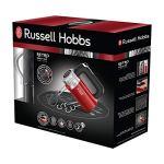 Russell Hobbs Retro Batteur, Réf 25200-56, 4 vitesses, poignée ergonomique, retrait facile, 2 fouets en hélice + 2 crochets pétrin – Rouge