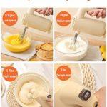 WHOJA Mixeur Plongeant 5 vitesses Mélangeur de pâte avec 2 fouets en acier inoxydable Bouton d'éjection Batteur à oeufs de robot culinaire Pour les outils de cuisine Mousseur à lait à la crème