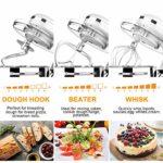 HOWORK Robot Pâtissier 1500W, Bol 8L 6 Vitesses Robot pétrin multifonction, Batteur, Fouet, Crochet, Robot de cuisine (8L, blanc)