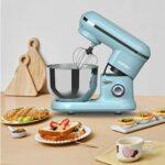 KUPPET Robot Pâtissier 1300W, avec Bol d'Acier Inox 4,5L, Vitesse Réglable à 10 Niveaux,Mélangeur à tête inclinable avec crochet à Pâte et Fouet ,Accessoires Inclus Batteur(Bleu)