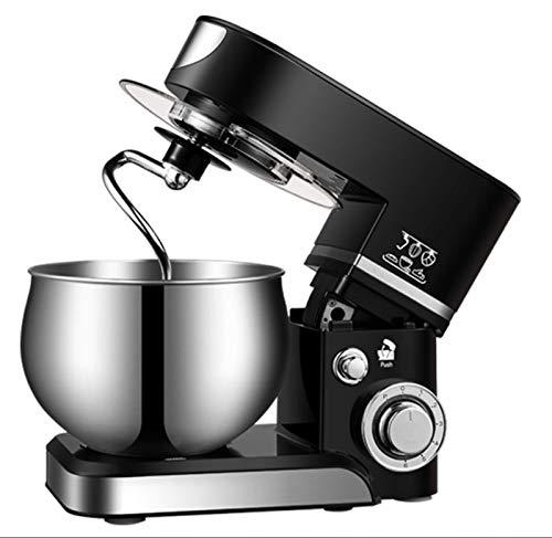 JHNEA Robot Pâtissier, 5.5L Robot avec Kit pâtisserie (Fouet à Fils, Batteur, Crochet), Bol en Acier Inoxydable, Couvercle Verseur, 6 Vitesses avec Fonction Pulse, 1200W, SC-205,Black