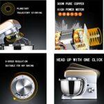JHNEA Robot Pâtissier Multifonctions, Batteurs sur Socle, Fouet Ballon, Crochet à Petrin, Robot Patissier Puissant, 5L, 8 Vitesses, 800W,800W