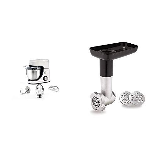 Moulinex Masterchef Gourmet Robot Pâtissier 1100W et 8 Vitesses Fonction Pulse Bol Inox 4.6L Kit Blanc & Moulinex Hachoir à Viande XF631BB1 Accessoire Masterchef Gourmet Officiel Hacher Gros ou Fin