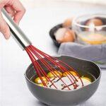 Alysays Woughs de Silicone avec poignée en Acier Inoxydable Batters d'œufs Beurre Blender Outils de Cuisine pour la pâte fouettée (Color : Red)