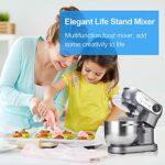 Robot de cuisine Elegant Life – 1200 W – Robot pétrisseur de voiture avec bol mélangeur en acier inoxydable de 5,5 l – 6 vitesses – Fouet – Crochet pétrisseur plat – Protection anti-éclaboussures