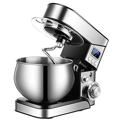 Robot Pâtissier 600W,Multifonctionn 5Lrobot Pâtissier Avec Bol D'acier Inox,6 Vitesses Robot Pétrin Avec Fouet À Fils,Batteur,Crochet