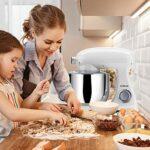 COOKLEE Pâtissier Métalique Batteur 1800W 8L Électrique 10+1 Vitesses Mixeur Multifonction Robot de Cuisine avec Crochet Pétrisseur, Bowl, Batteur,Lavevaisselle
