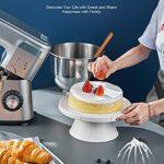 Robot Pâtissier Multifonctions, Crochet Pétrisseur Double, Pétrin 5.5L 1200W Puissant, Robot de Cuisine avec Crochet Pétrisseur, Batteur, Fouet à Fil, Couvercle