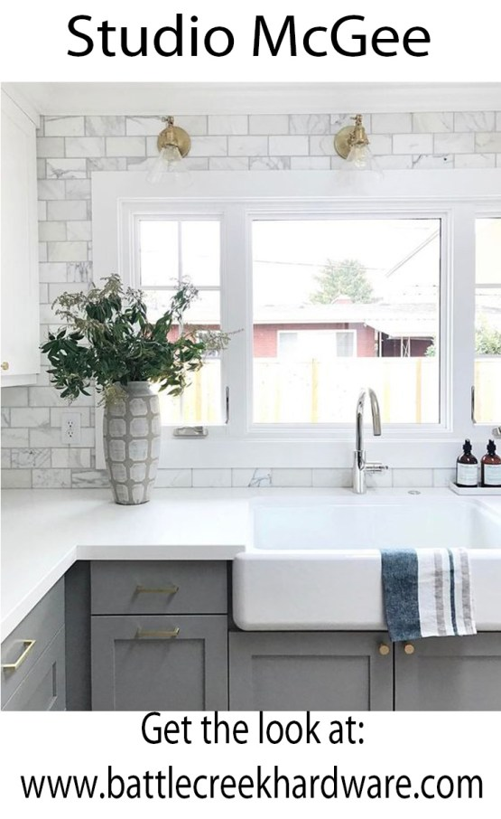 Studio McGee Battle Creek Hardware White and Grey Kitchen with brass hardware