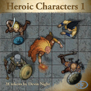 Devin Night's Token Pack #45: Heroic Characters 1