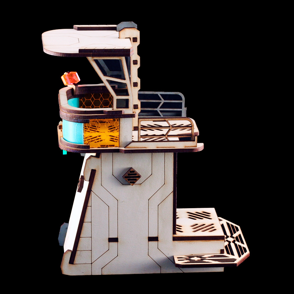 laser cut mdf and acrylic watchtower for infinity game by corvus belli