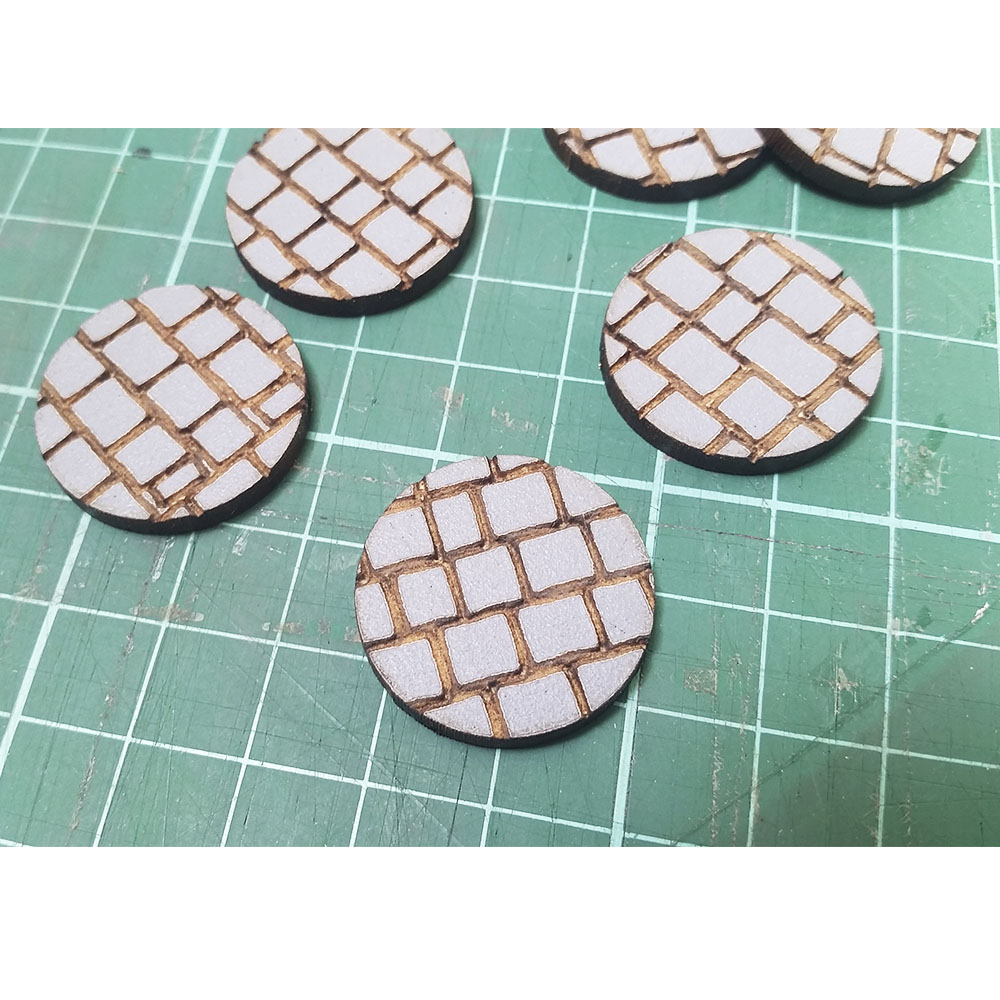 cobblestone pattern 25mm round bases for wargaming