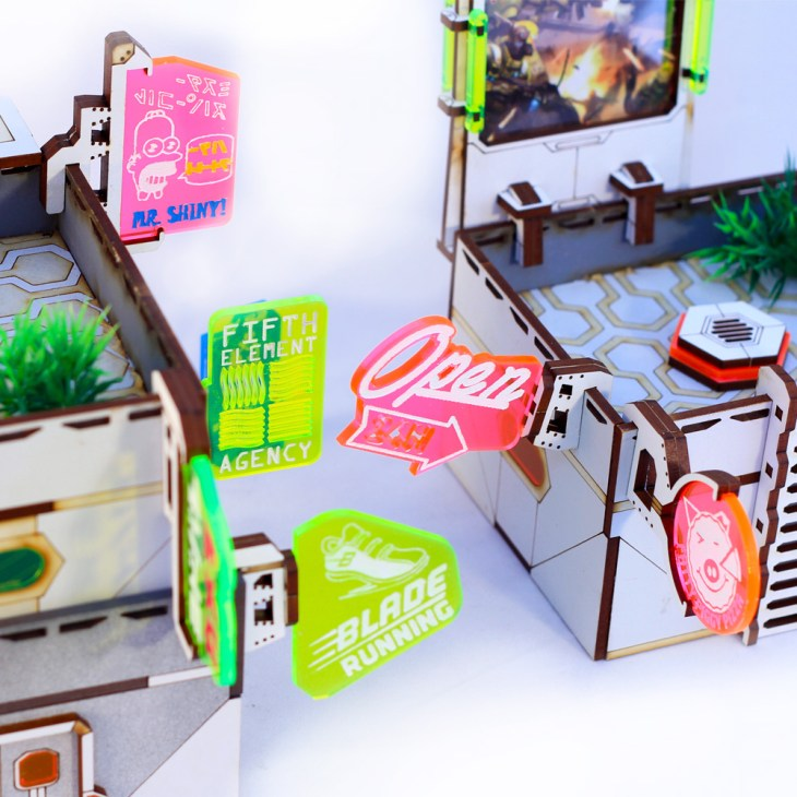 neon tokyo tabletop sci fi signs