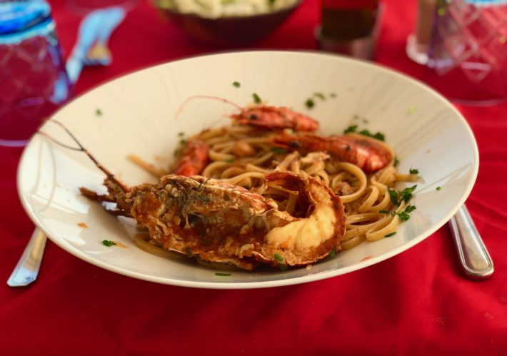 Seafood pasta with lobster