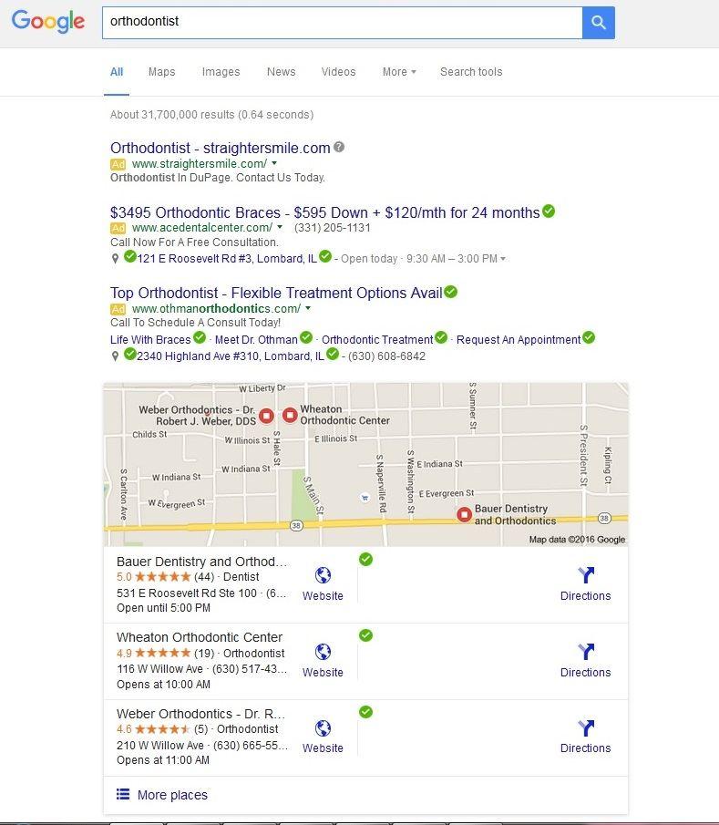 Orthodontist google search
