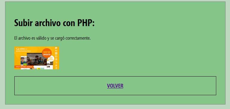 Archivo subido correctamente php