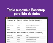 Tabla responsiva Bootstrap para lista de datos