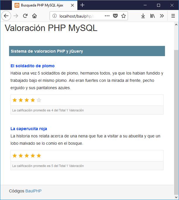 Descargar sistema de valoración con PHP y JQuery