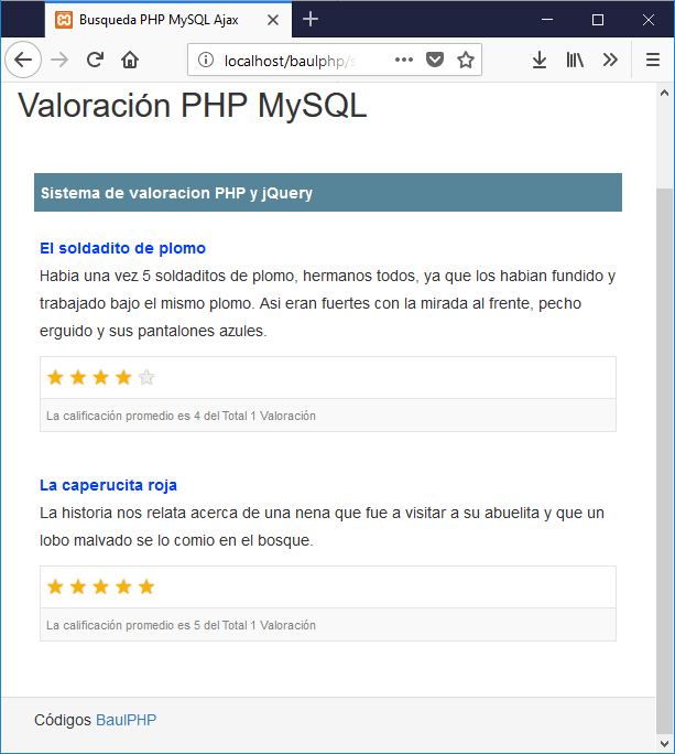Descargar sistema de valoración con PHP