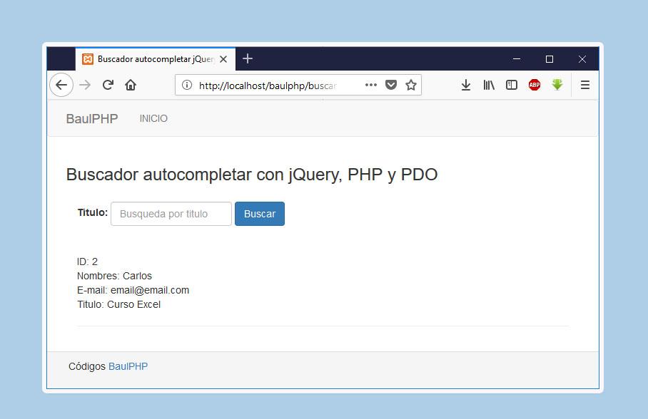 Buscador autocompletar jQuery, PHP y PDO