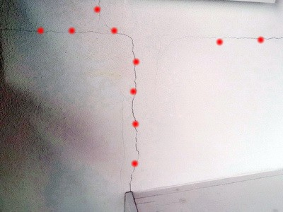 Risse im Innenputz BAUMÄNGEL Bild Bauschaden-Baumangel Bauschäden, Hausgutachter Bausachverständiger Schmalfuß Nürnberg Baugutachter, KFW