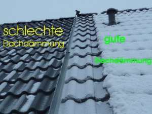 Kontrolle Dach & Dachdämmung, links Dachdämmung mangelhaft