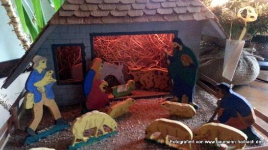 Weihnachtskrippe Sperrholz handgemacht