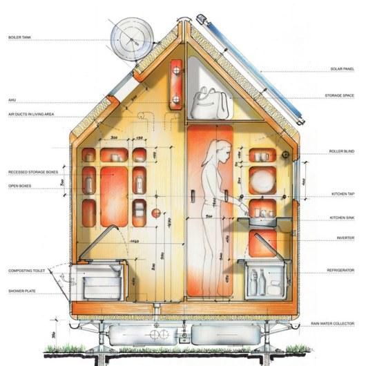 Vertikalschnitt durch das Diogene Micro Home von Renzo Piano