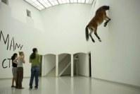 Pferd mit Kopf in Wand