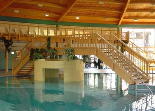 Schwimmbad mit Holzdach und Holzbrücke