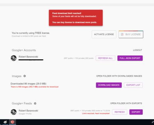 Google+ Exporter Schreenshot 04