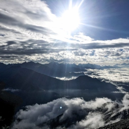 A cloudy view of mountains during Shrikhand mahadev yatra
