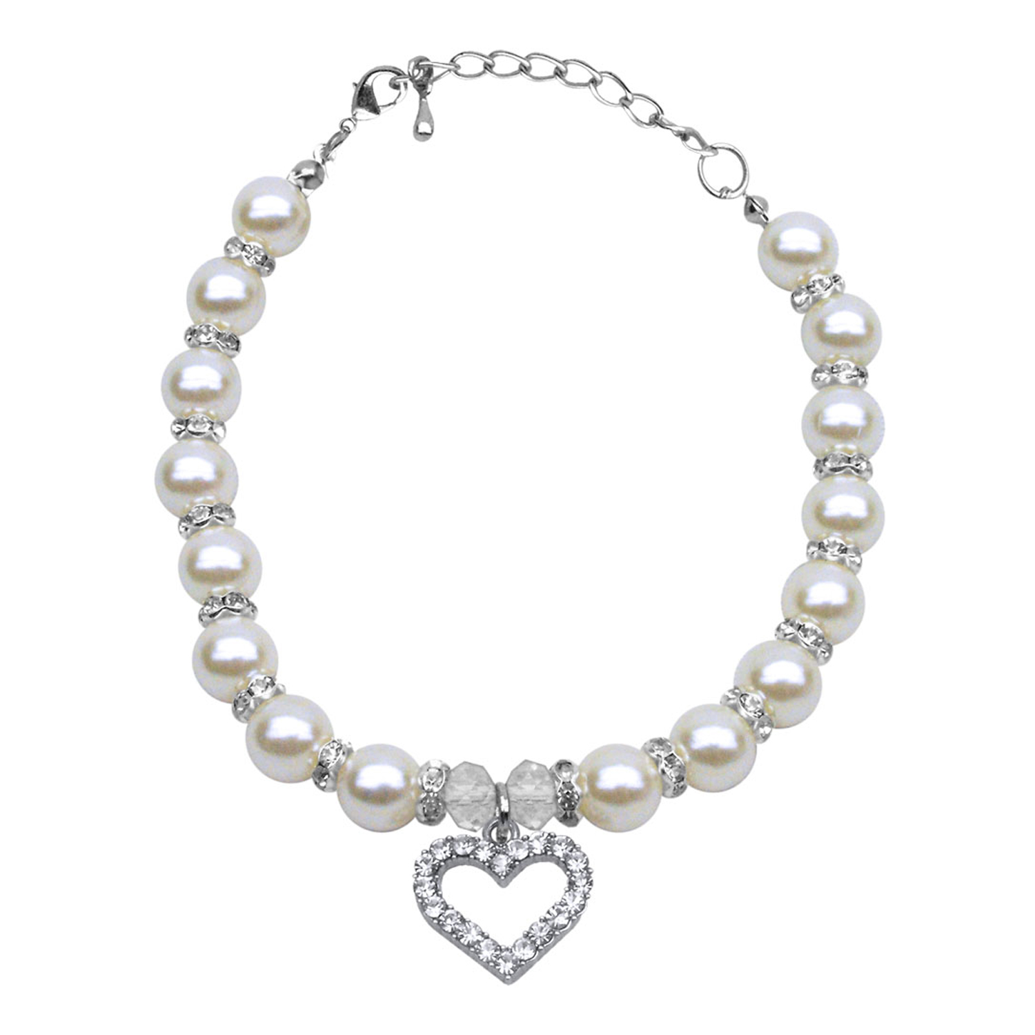 Heart And Pearl Dog Necklace