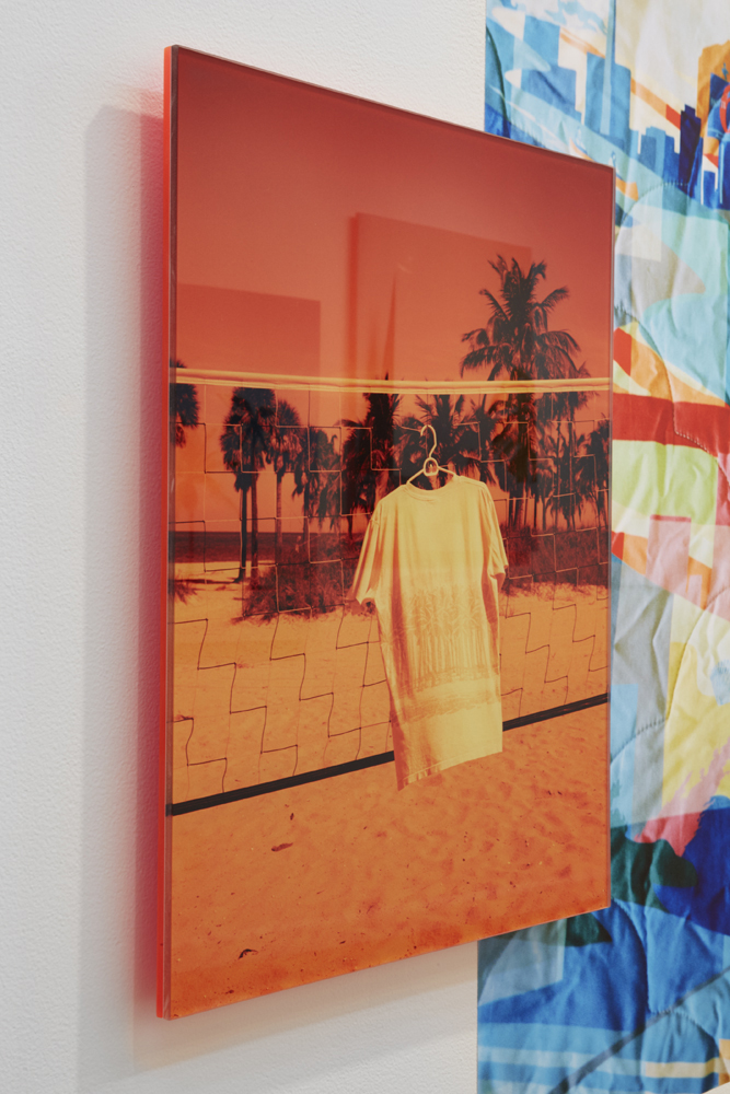 Installation view of PALMS ON PALMS over BLANKETTO, 2016.
