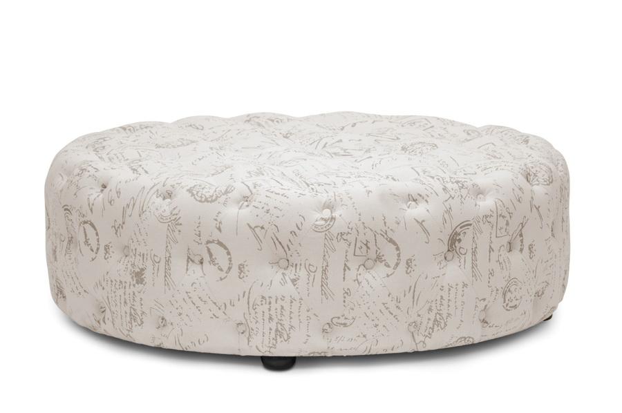 cardiff beige script print modern tufted ottoman affordable modern design baxton studio