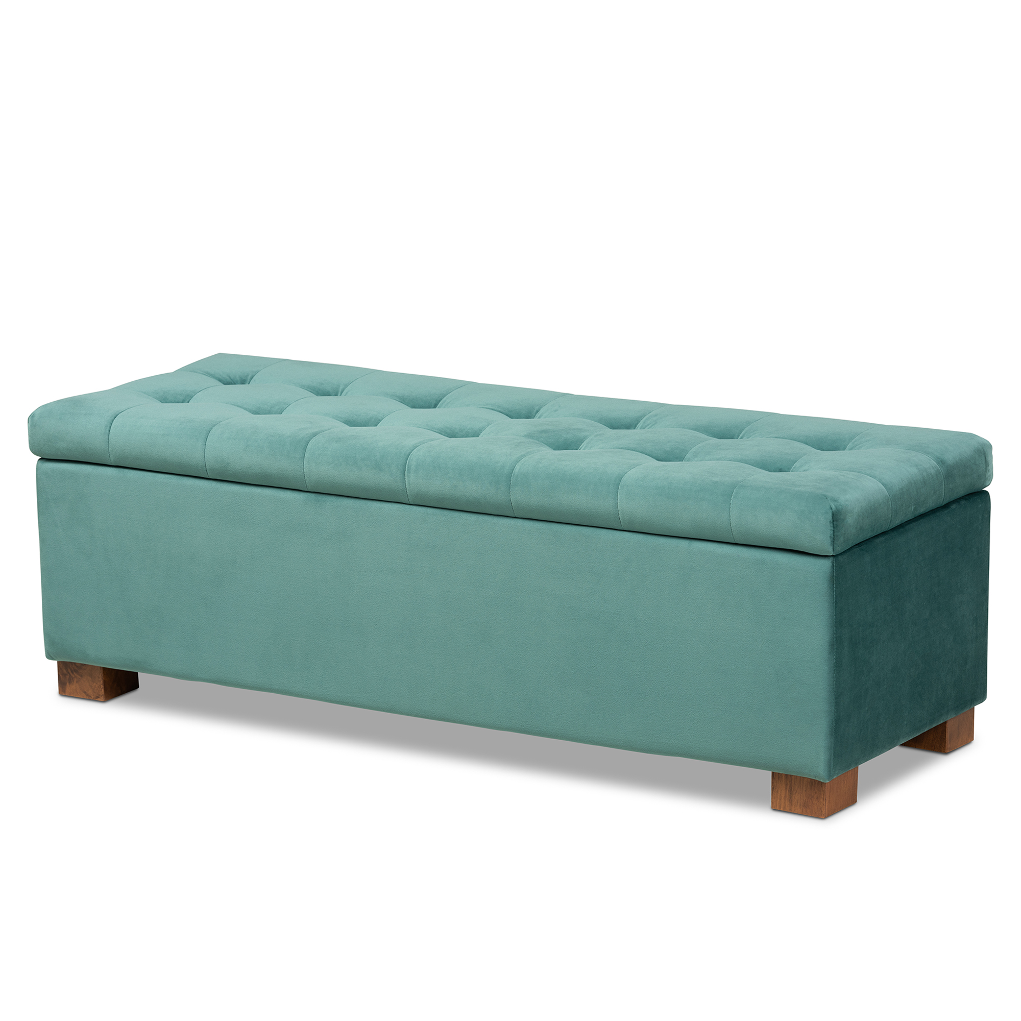 baxton studio roanoke modern and contemporary teal blue velvet fabric upholstered grid tufted storage ottoman bench