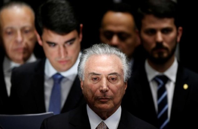 الرئيس البرازيلي ميشال تيمر في حفل تنصيبه في برازيليا، آب 2016.