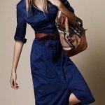 Uzun Kollu Kot Elbise Modelleri