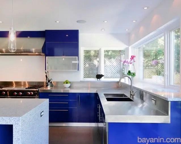 Lacivert Renk Mutfak Dolabı Modelleri