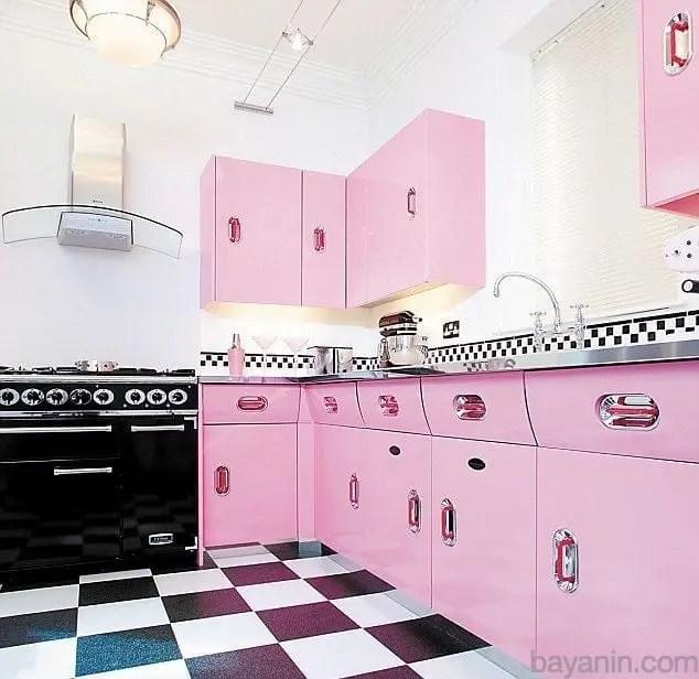 Pembe Renk Mutfak Dolabı Modelleri