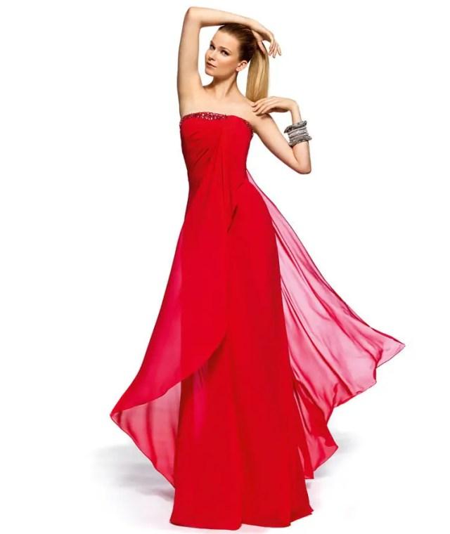 Straplez Kırmızı Elbise Modelleri