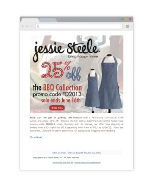 Email campaign marketing mockup for Jesse Steele apparel and aprons using MailChimp for Fathers Day by Bayard Heimer