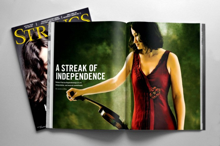 Pat Kop feature for Strings Magazine with cover and spread